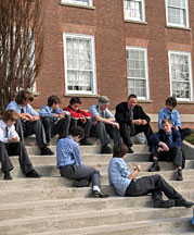 Students on school steps